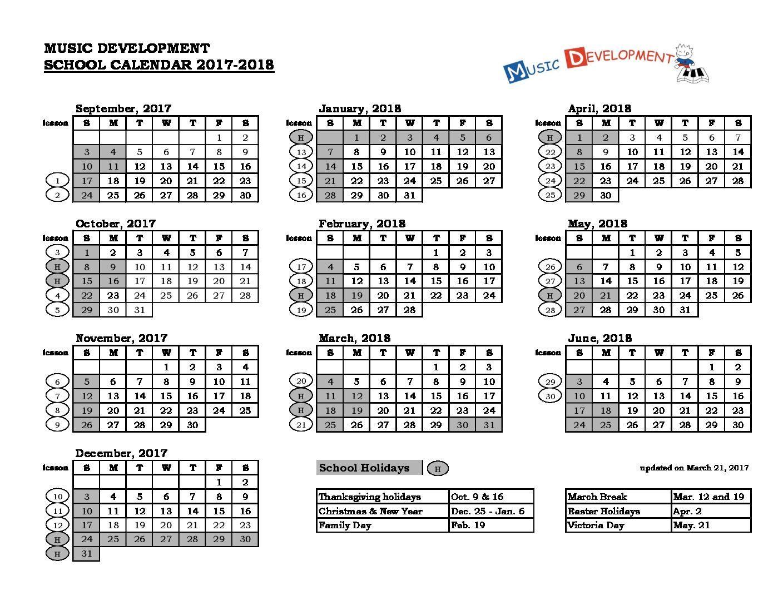 Music Development Calendar 17-18