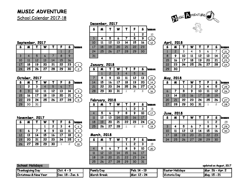MA1 Calendar 17-18