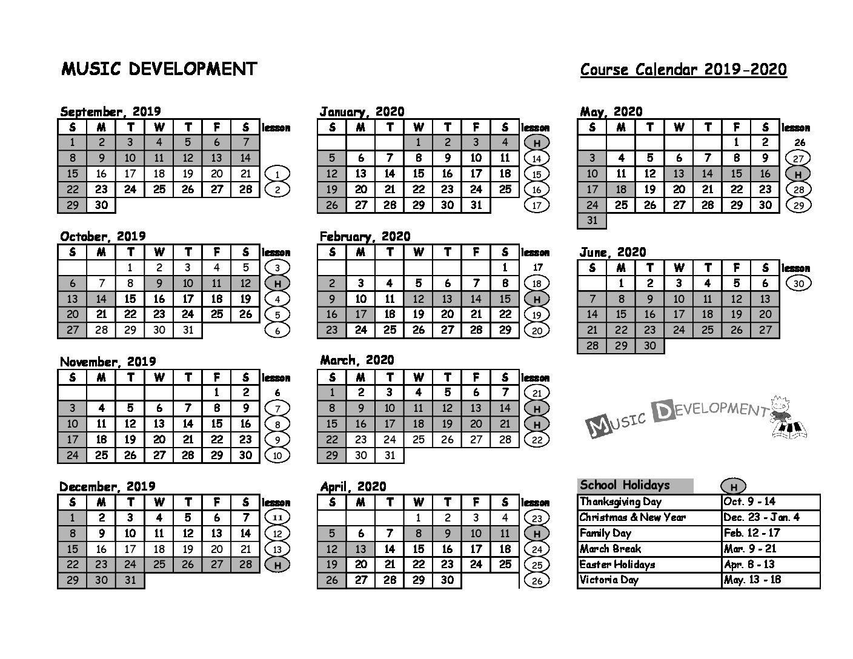 Music Development Calendar 19-20